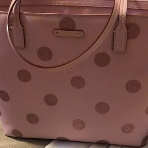 Kate spade pink polka dot large tote